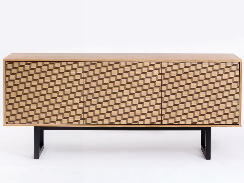 Wooden sideboard with doors CAMDEN Cube Print by Woodman