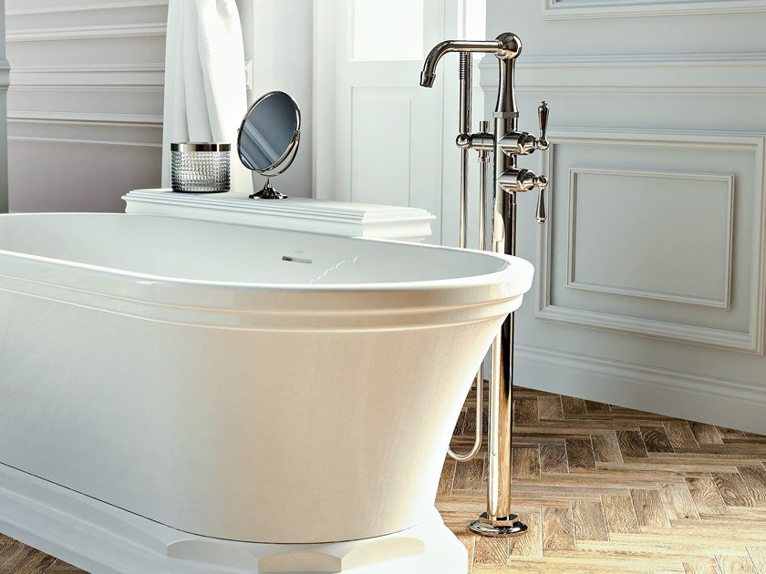 Floor standing 1 hole bathtub mixer with hand shower CAMDEN | Floor standing bathtub mixer by Graff Europe West