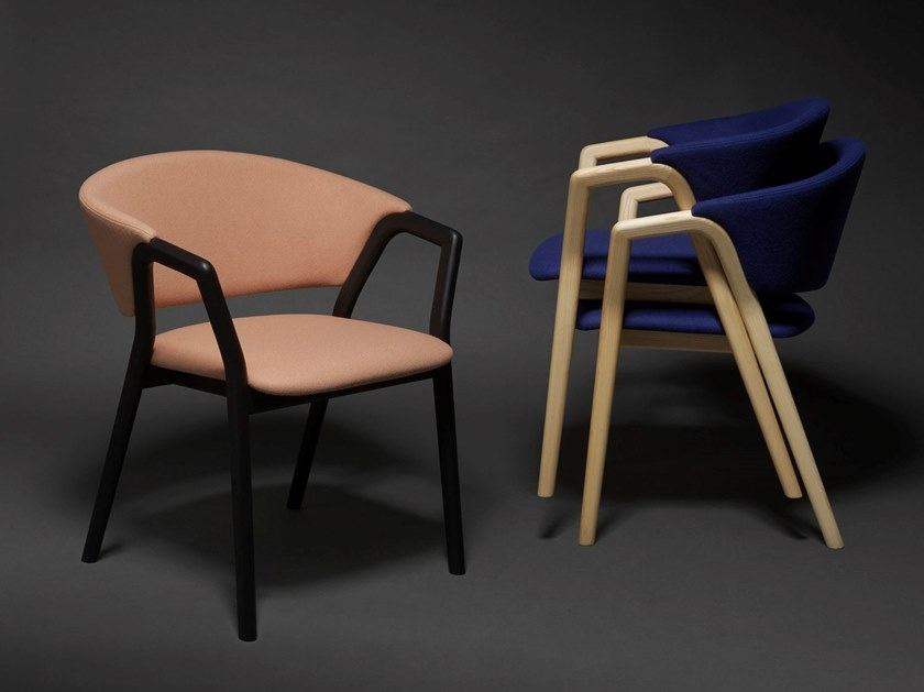 Stackable easy chair with armrests CAMDEN by Very Wood