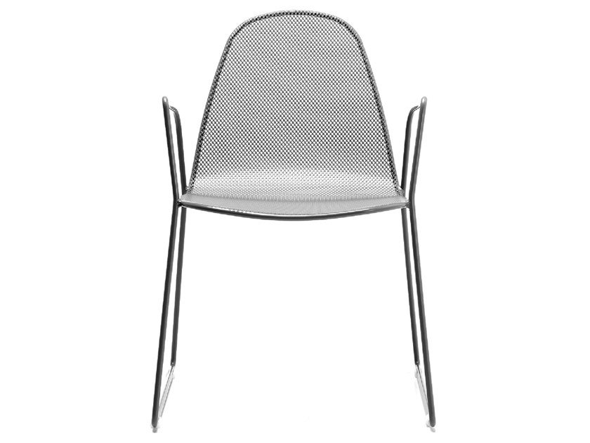 Sled Base Stackable Galvanized Steel Chair With Armrests CAMILLA2 By RD  Italia