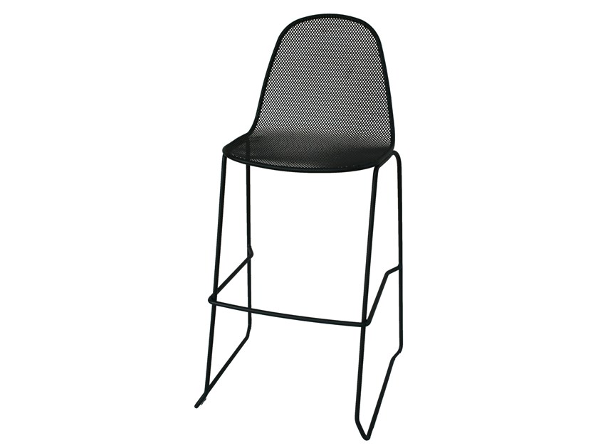 High sled base galvanized steel stool with back CAMILLA75 by RD Italia
