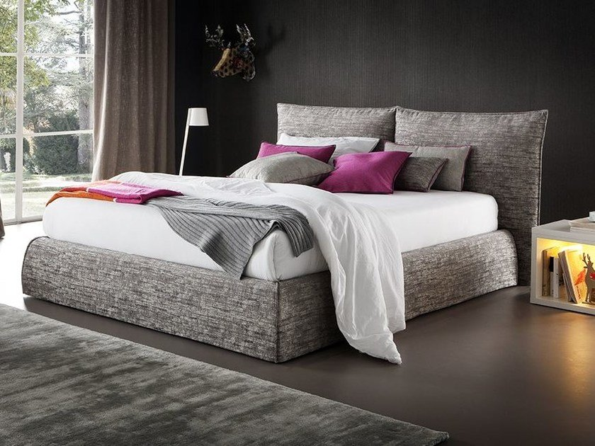 Fabric bed with removable cover with upholstered headboard CAMILLO by Chaarme Letti