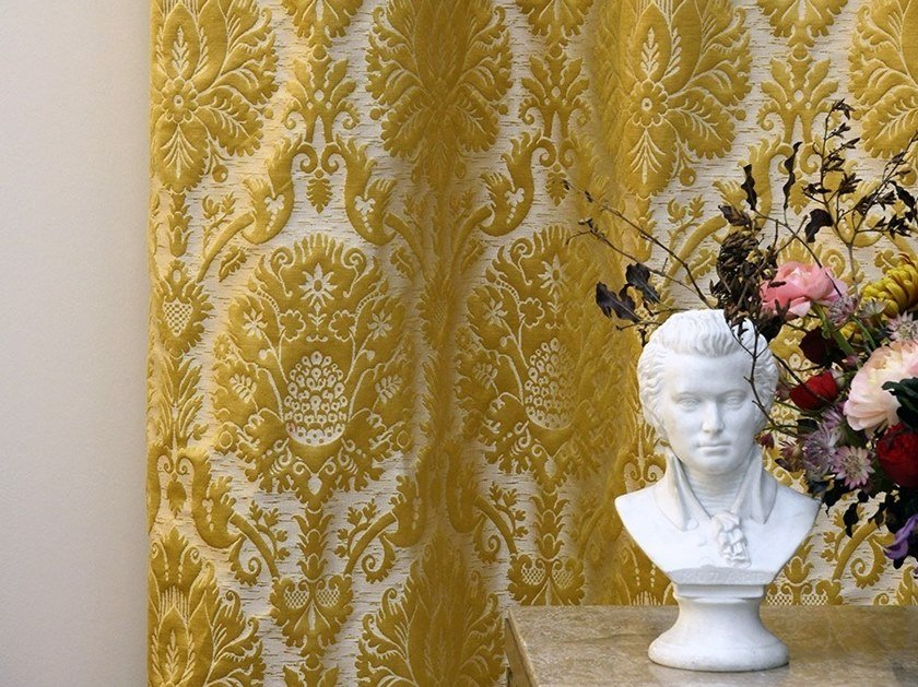 Damask jacquard fabric CAMMINO by LELIEVRE