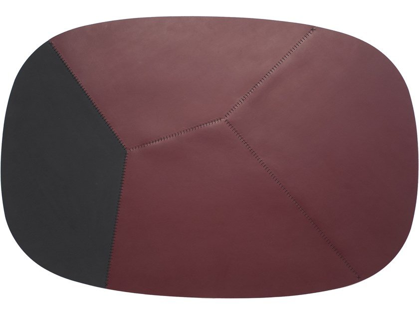 Handmade oval tanned leather rug CAMPO by ManifestoDesign