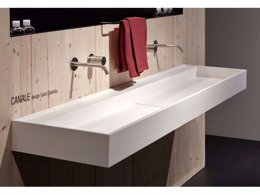 Lavabo rettangolare in Flumood® CANALE by Antonio Lupi Design