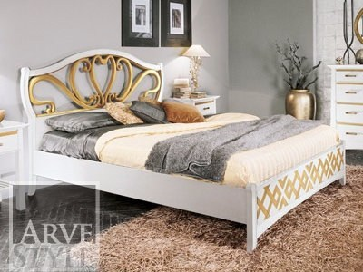 Lacquered solid wood bed NAIMA | Double bed by Arvestyle