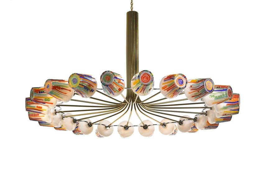 LED blown glass chandelier CANDY - RING CHANDELIER by Lasvit