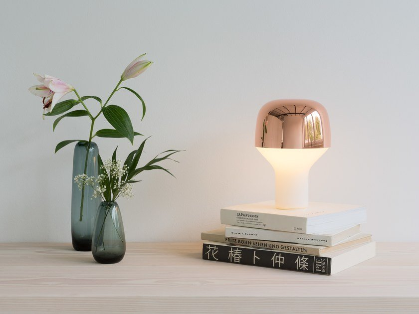 Glass and steel table lamp CAP by TEO