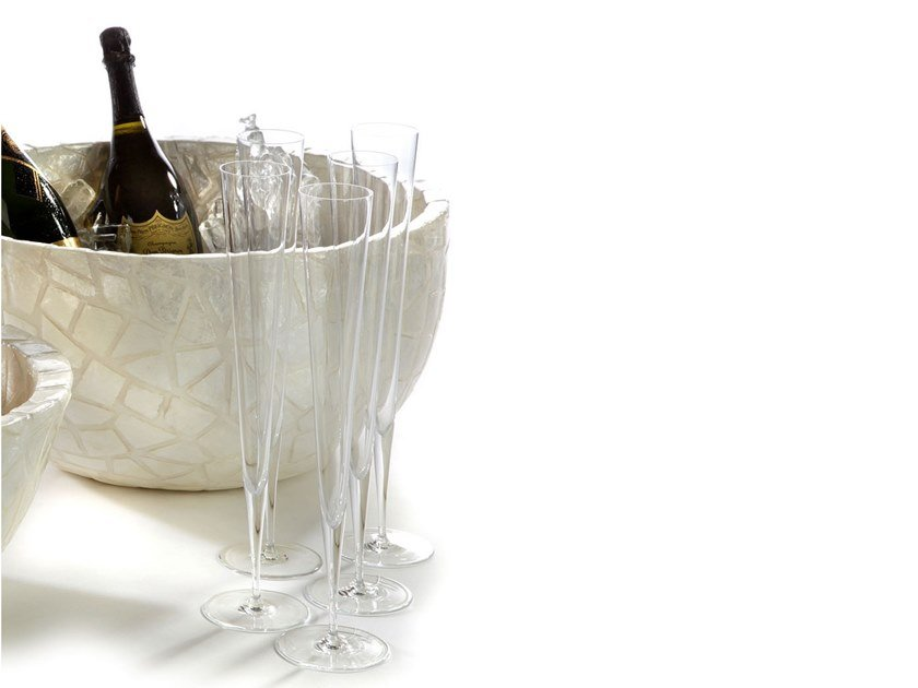 Resin Champagne Cooler with embedded clamshells CAPIZ by Zieher
