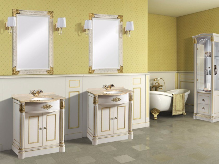 Lacquered vanity unit with doors with mirror CAPRI CM17DC by LA BUSSOLA