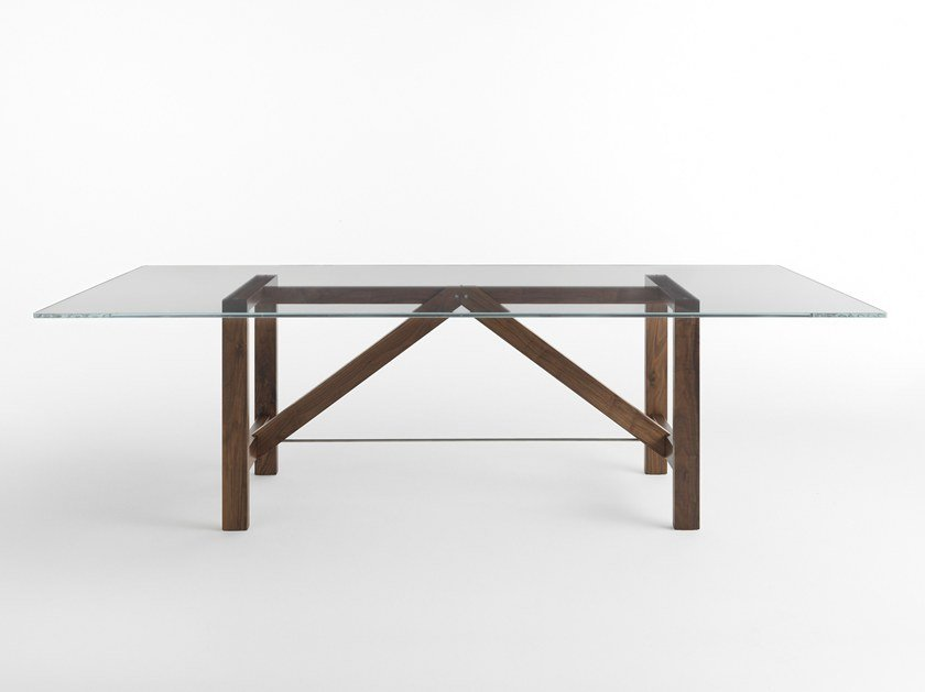 Rectangular wood and glass table CAPRIATA GLASS by Casamania & Horm