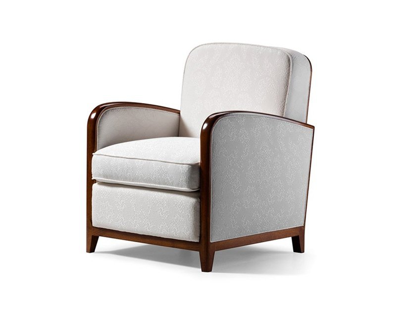 Upholstered fabric armchair with armrests CAPRICCI | Armchair by Prestige
