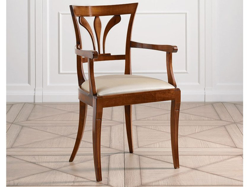 Cherry wood chair with armrests CAPRICCI | Chair with armrests by Prestige