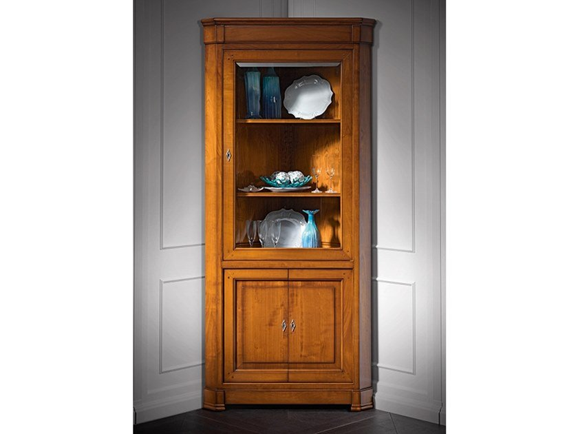 Wood and glass corner display cabinet CAPRICCI | Corner display cabinet by Prestige
