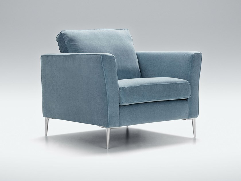 Upholstered fabric armchair with armrests CAPRICE | Armchair by Sits