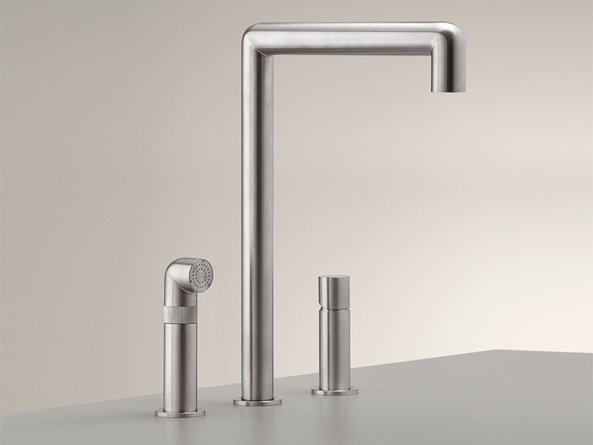3 hole stainless steel kitchen mixer tap with pull out spray CAR 07 by Ceadesign