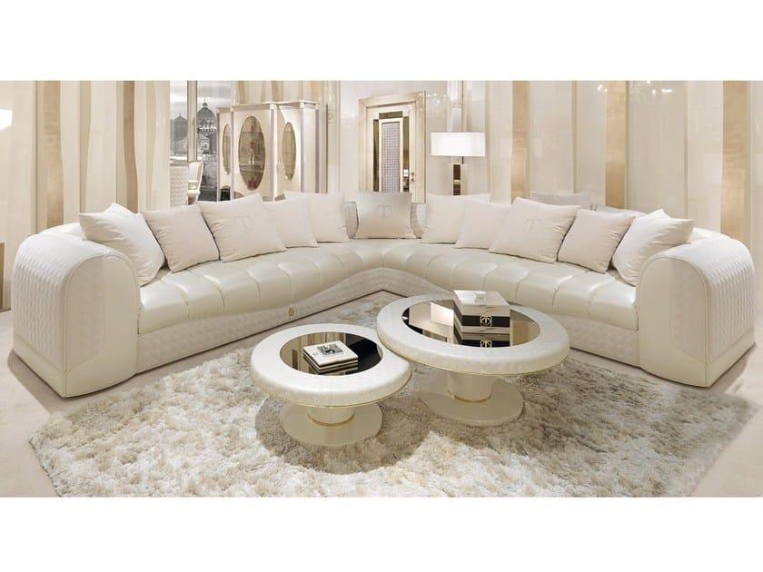 Corner leather leisure sofa CARACTERE | Corner sofa by Turri