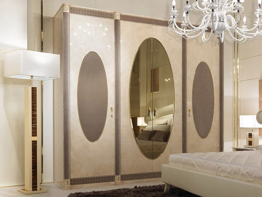 Lacquered mirrored wooden wardrobe CARACTERE | Wardrobe by Turri