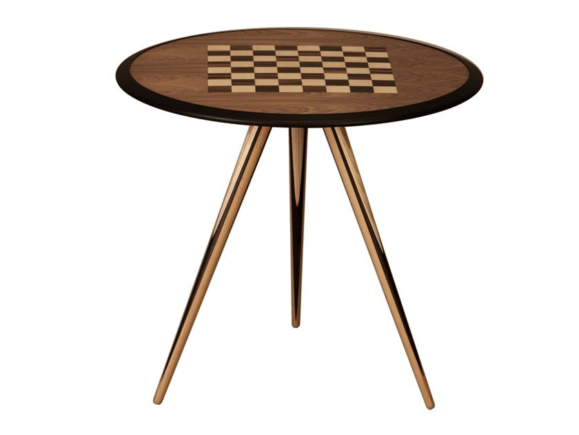 Round ash chess table CARAMBOLA GAME by Morelato