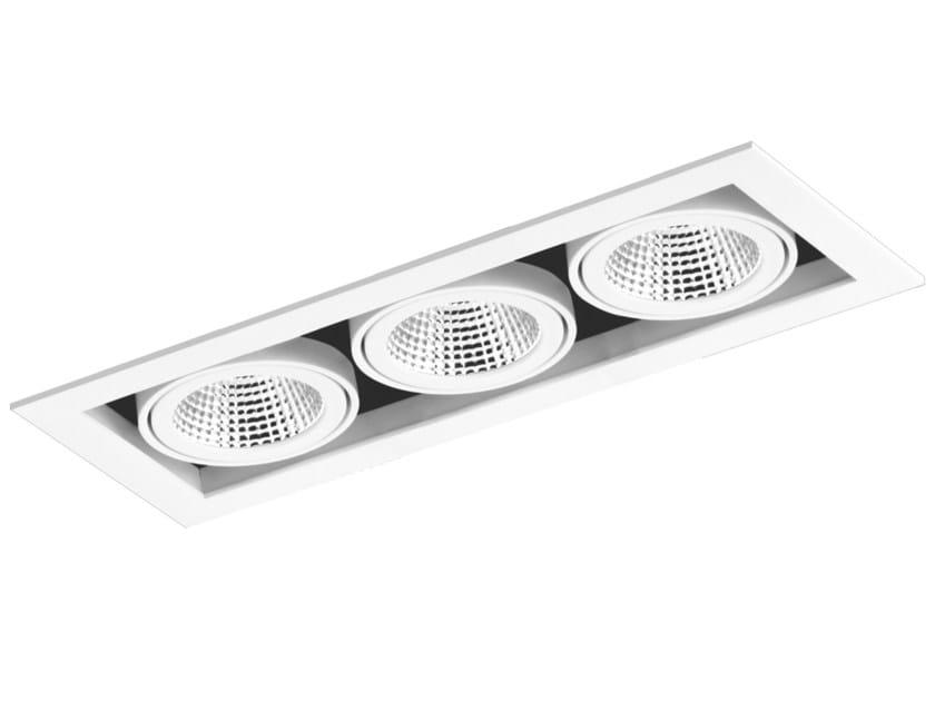 LED rectangular recessed aluminium spotlight CARDAN 3x33W by LED BCN