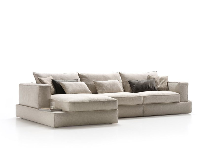 Sectional fabric sofa with chaise longue CARESSE | Sofa with chaise longue by ESTEL GROUP