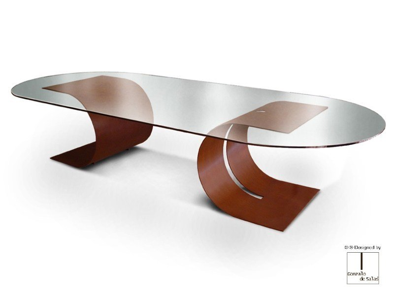 Oval glass and steel table CARLOVI | Oval table by Gonzalo De Salas