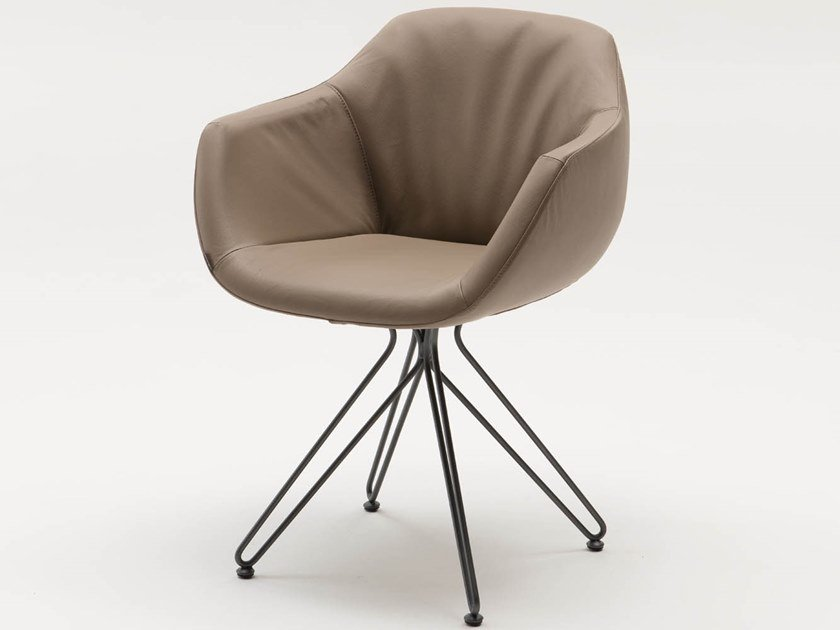 Upholstered chair with armrests CAROL by Ozzio Italia
