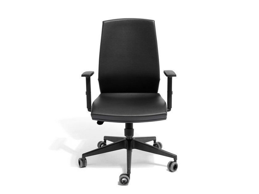 Swivel task chair with 5-Spoke base CAROLINA   Leather task chair by AP Factor