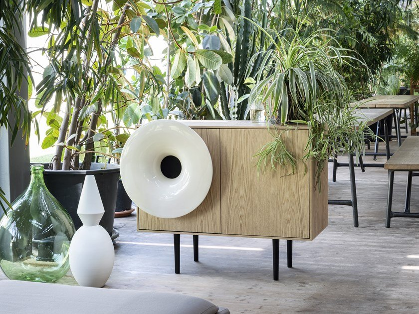 Wooden sideboard with built-in speakers CARUSO by Miniforms