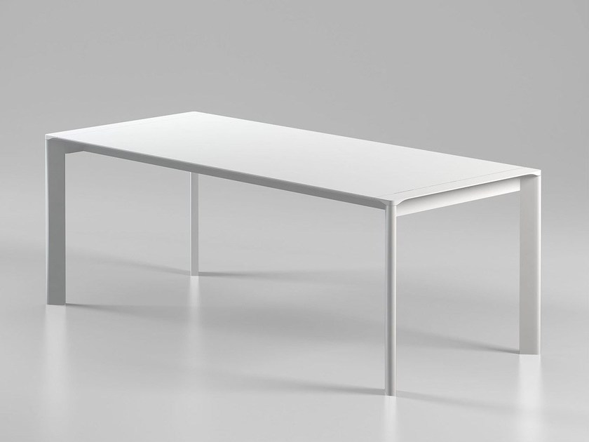 Extending lacquered rectangular wooden table CARVING by ALIVAR