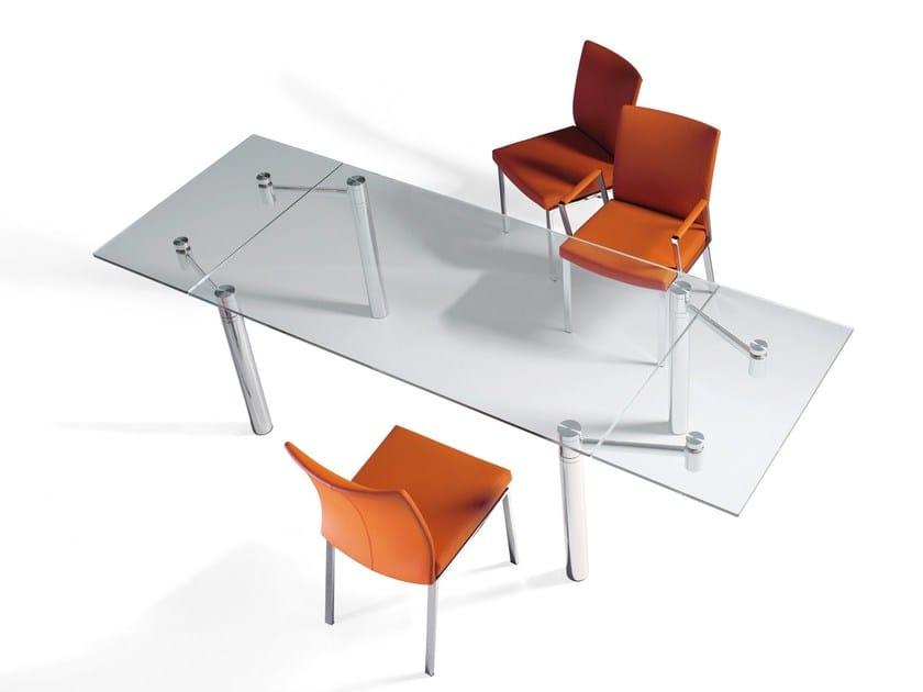 Extending rectangular glass dining table CASANOVA by Draenert