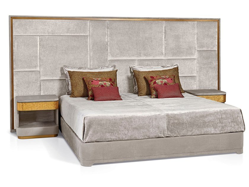 Double bed with integrated nightstands with upholstered headboard CASANOVA by Sicis
