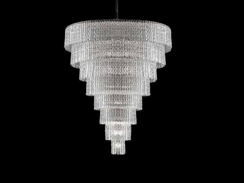Lampada a sospensione in cristallo cascade 94 collezione cascade by