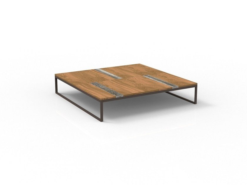 Square wooden garden side table CASILDA | Square coffee table by Talenti