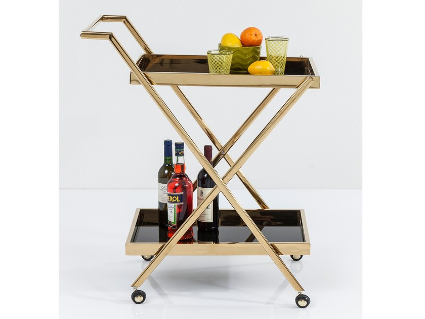 Glass And Stainless Steel Kitchen Trolley Casino Gold By Kare Design