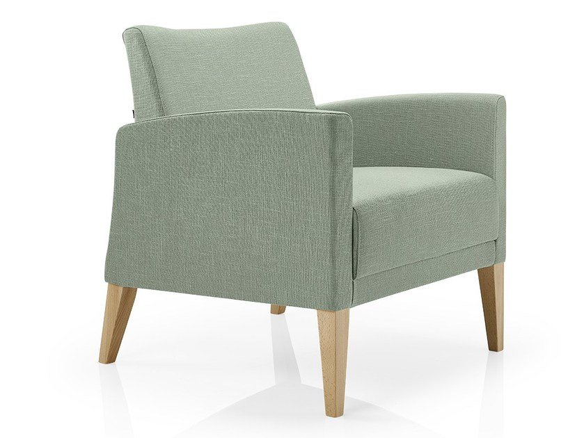 Fabric easy chair with armrests CASSIS | Fabric easy chair by JMS