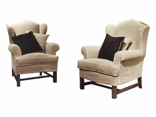 Upholstered fabric armchair with armrests CATERINA by SOFTHOUSE