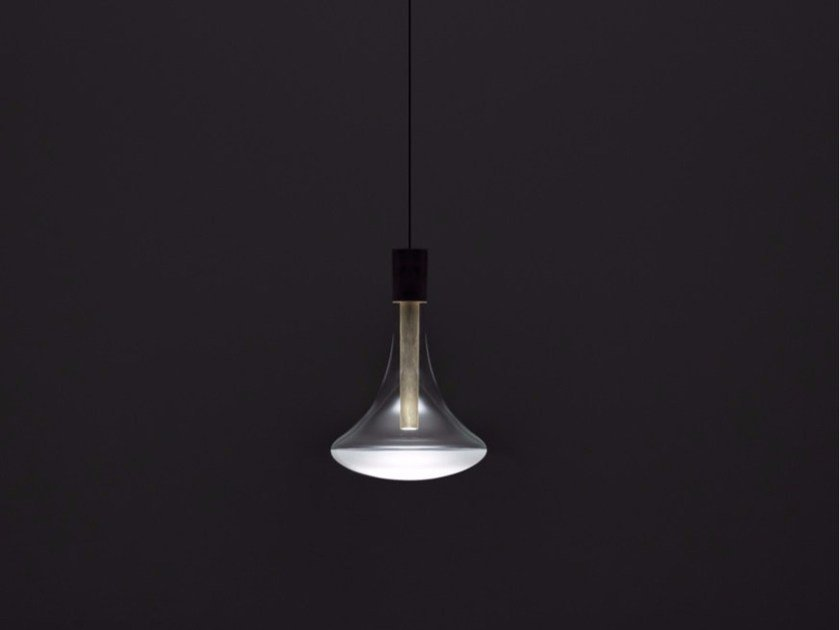 LED glass and metal pendant lamp CATHODE by DAVIDE GROPPI