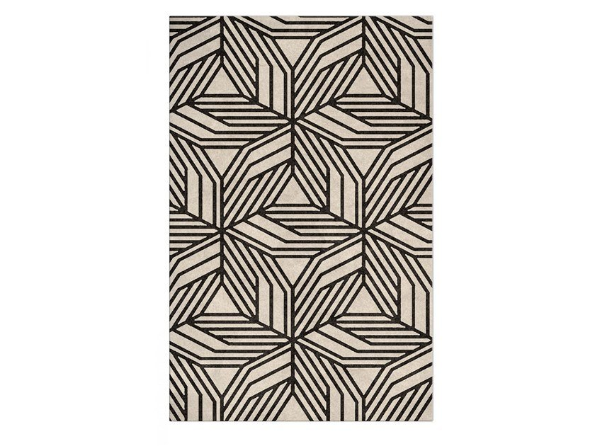 Contemporary style handmade rectangular fabric rug with geometric shapes CAUCA by BRABBU