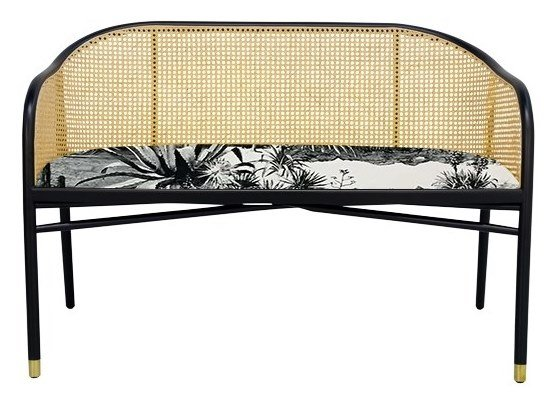 Lacquered high-back bench with linen seat CAVALLO | Linen bench by The Socialite Family