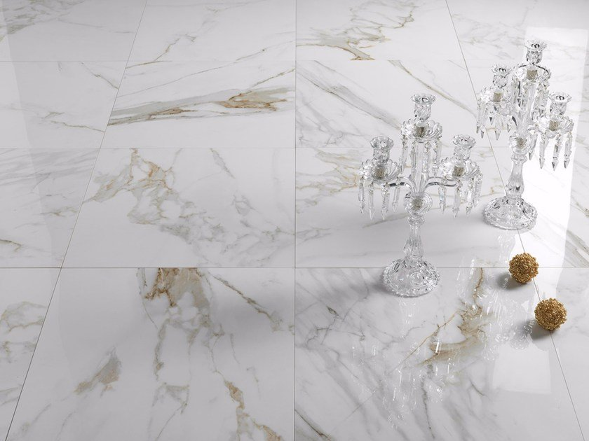 Porcelain stoneware wall/floor tiles with marble effect CAVE by Saime Ceramiche