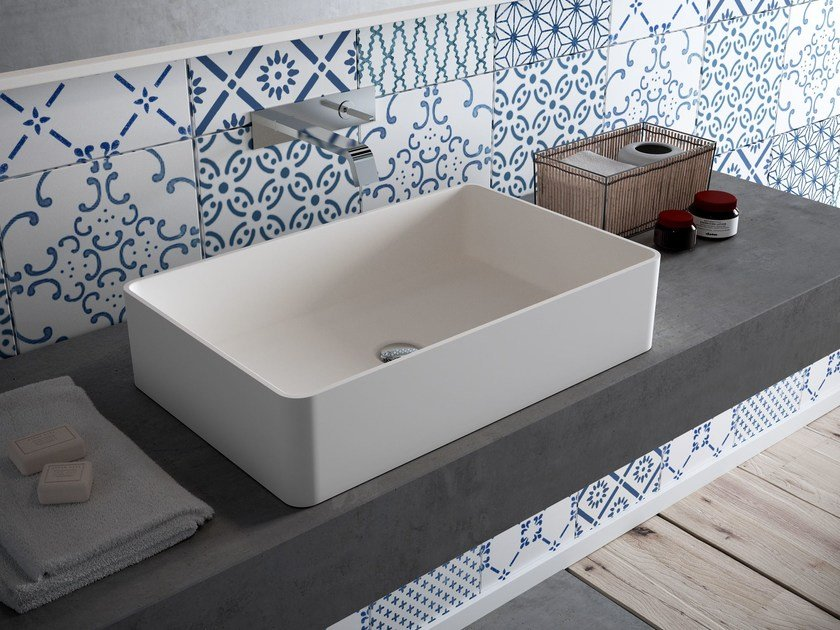 Countertop rectangular HI-MACS® washbasin CB540R by HI-MACS