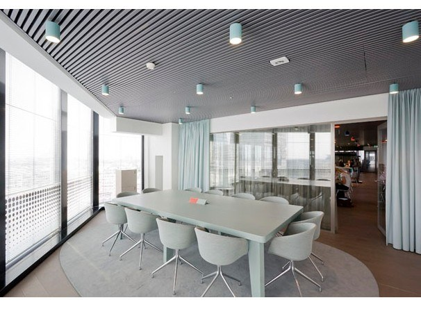 Metal ceiling tiles CCA LINEAR OPEN by HunterDouglas Architectural