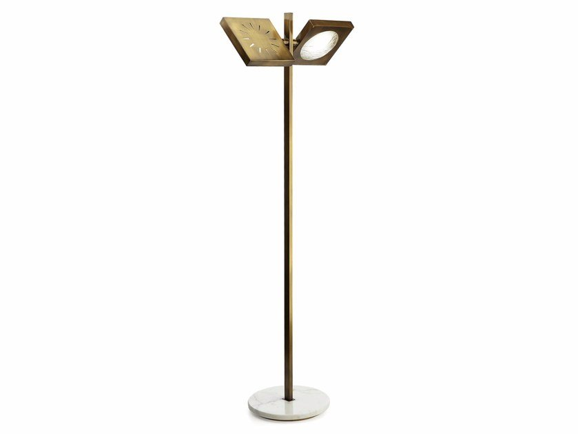 LED adjustable brass floor lamp CECILE | Brass floor lamp by MARIONI