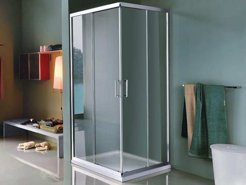 Cabina de ducha de esquina rectangulares con puertas correderas CEE ART | Cabina de ducha con puertas correderas by Samo