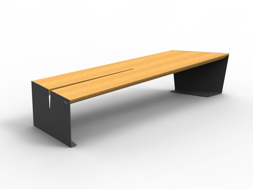 Modular backless steel and wood Bench CEKTA | Wooden Bench by LAB23