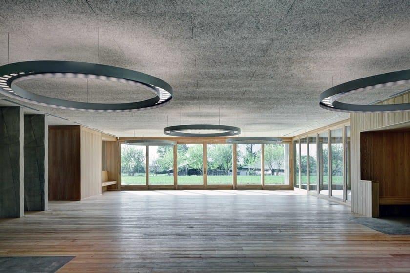 Cement-bonded wood fiber ceiling tiles CELENIT CONTROSOFFITTI by celenit