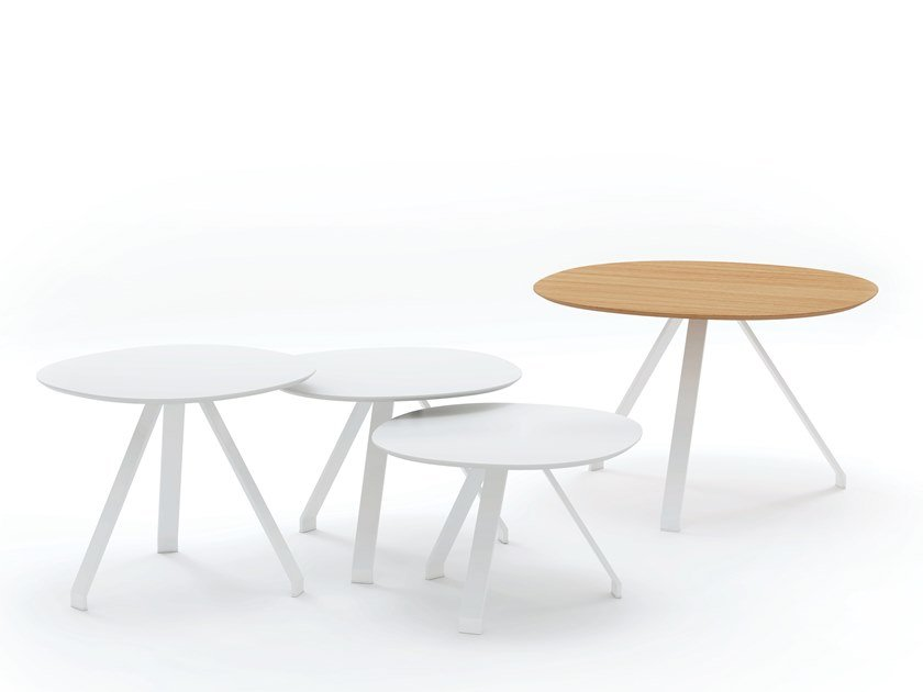 Round plywood side table with HPL edging CELES by Systemtronic