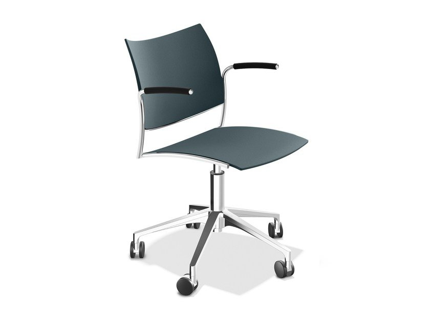 Plastic chair with 5-spoke base with armrests CELLO 1298-10 by Casala