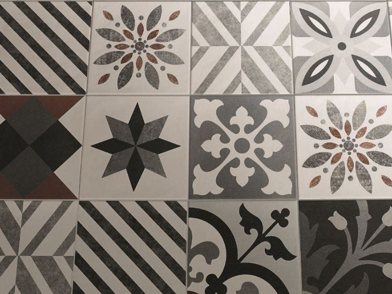 Piastrelle in gres porcellanato cementine black white di fioranese